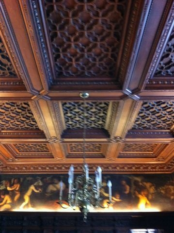 Hand carved dining room ceiling